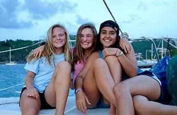 Teens sailing on Caribbean summer sailing program